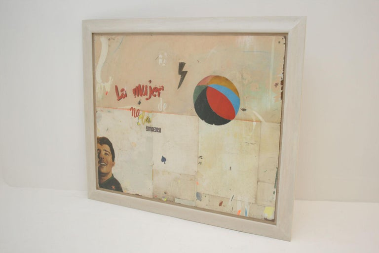 Contemporary La Mujer Large Abstract Collage by Artist Huw Griffith For Sale