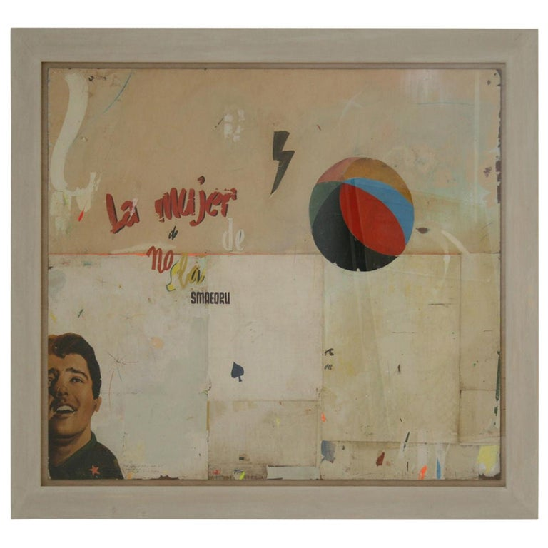 La Mujer Large Abstract Collage by Artist Huw Griffith For Sale