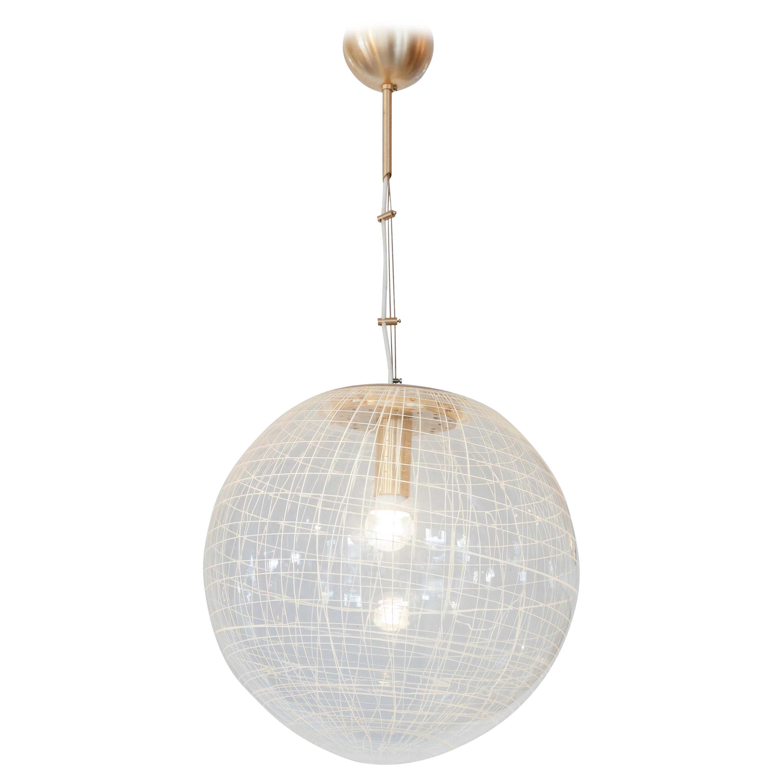 La Murrina Clear Bowl Glass with Spaghetti Swirl Pendant Lamp, Italy, 1970s