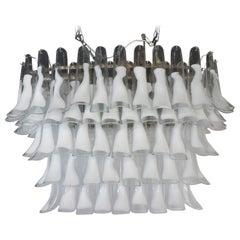 La Murrina Mid-Century Modern Crystal White Selle Murano Glass Chandelier, 1988