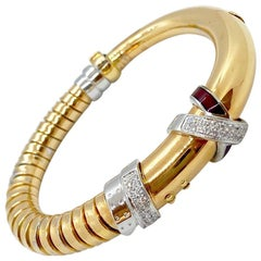 La Nouvelle 18 Karat Gold Bracelet with .59 Carat Diamonds and Burgundy Enamel