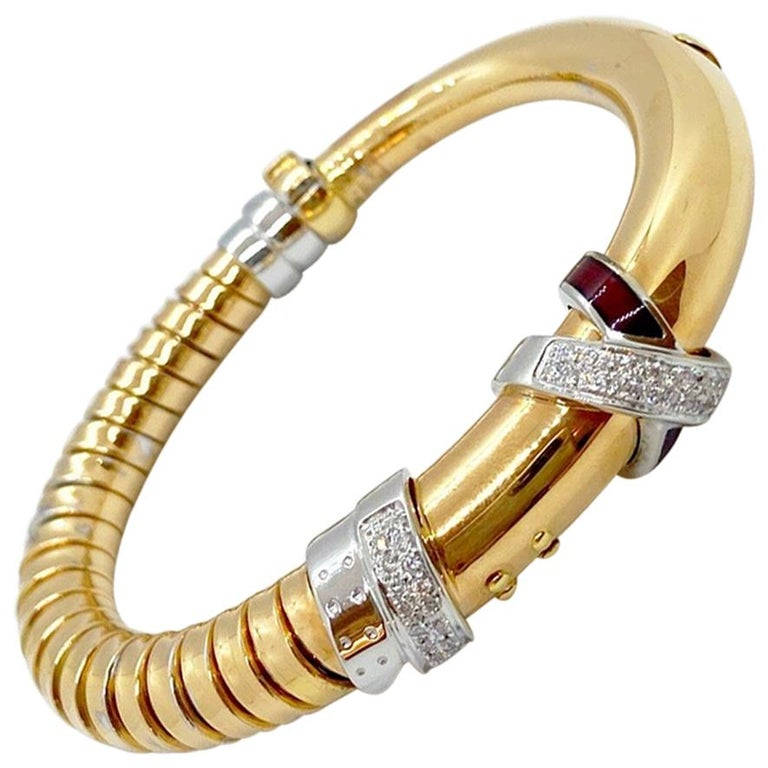 La Nouvelle 18 Karat Gold Bracelet with .59 Carat Diamonds and Burgundy Enamel For Sale