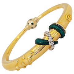 La Nouvelle Bague 18 Karat Gold Bangle Bracelet with Diamonds and Green Enamel