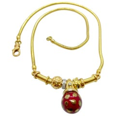 La Nouvelle Bague 18 Karat Gold Necklace with Red Enamel Ball and Diamonds