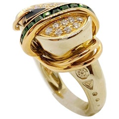 La Nouvelle Bague 18 Karat Rose and White Gold Ring, with Diamonds and Tsavorite