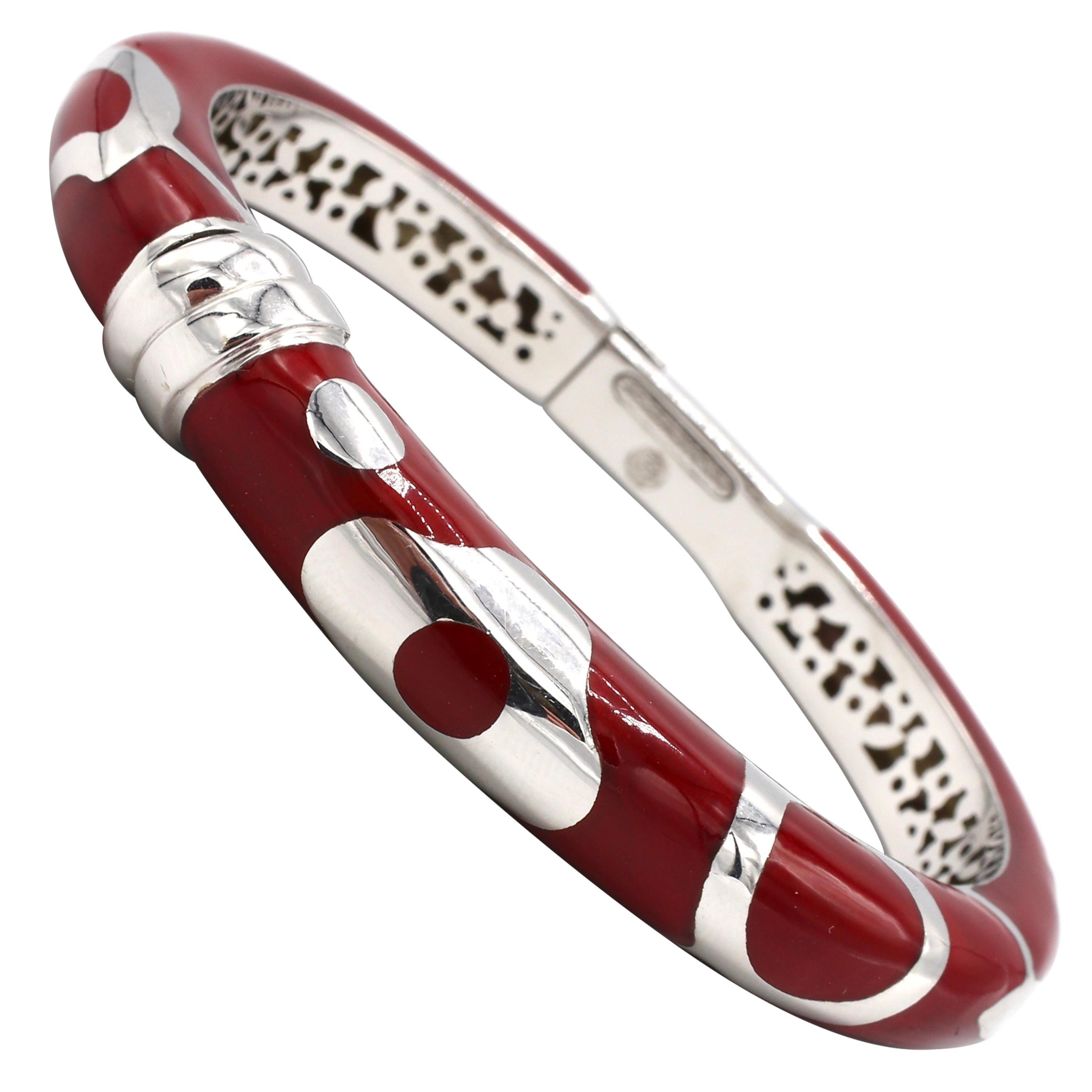 La Nouvelle Bague 18 Karat White Gold and Sterling Silver Enamel Bangle Bracelet