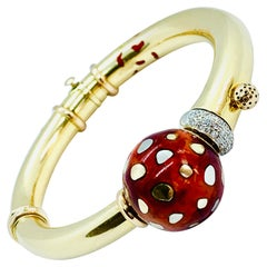 La Nouvelle Bague 18 Karat Yellow Gold, Diamond and Enamel Bangle Bracelet