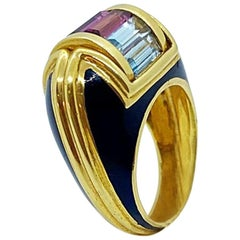 La Nouvelle Bague 18 Karat Yellow Gold Ring with Enamel and Semi Precious Stones