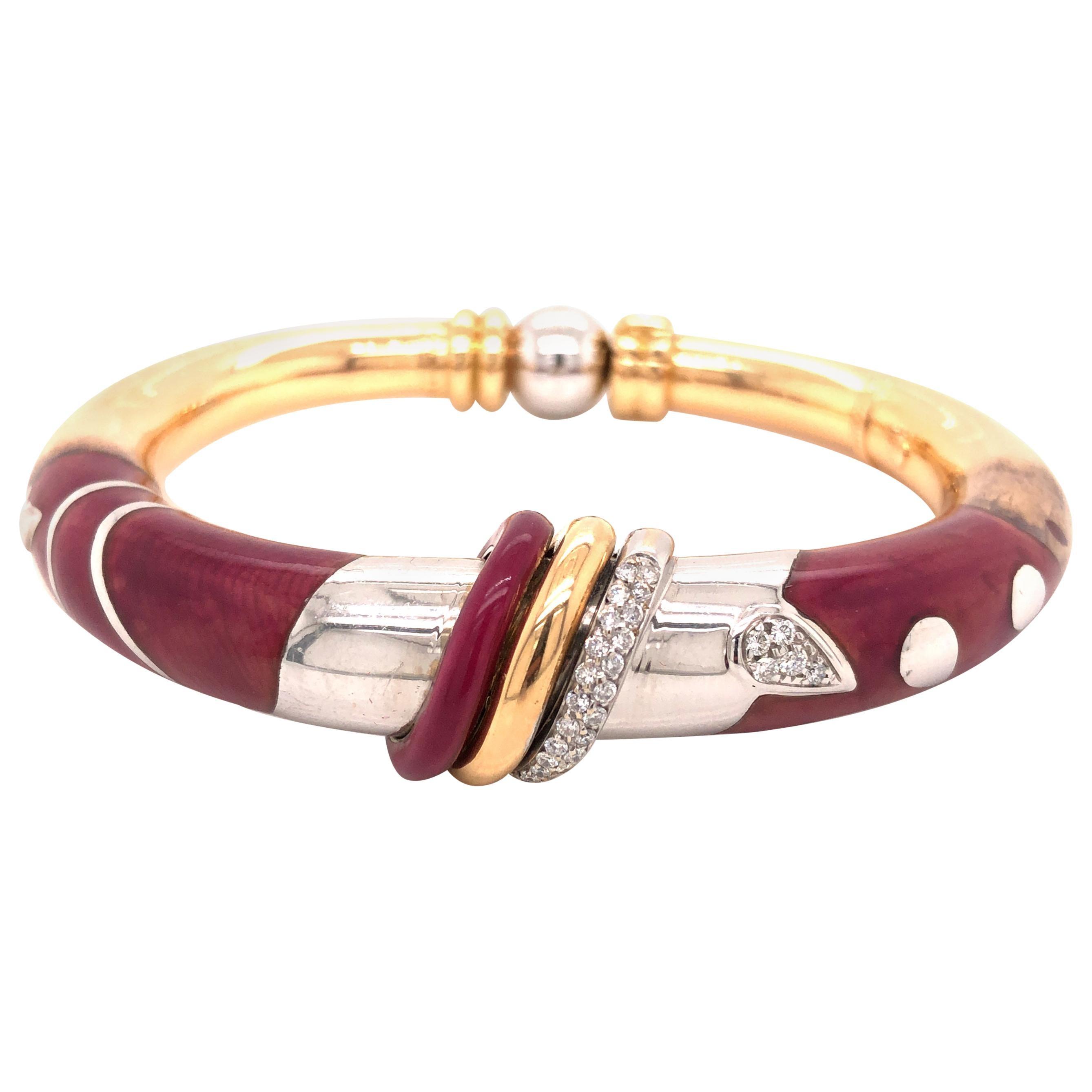 La Nouvelle Bague 18K Gold and Sterling Silver Enamel Diamond Bangle Bracelet