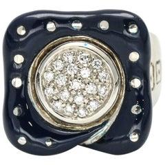La Nouvelle Bague 18 Karat White Gold Blue Enamel Diamond Ring