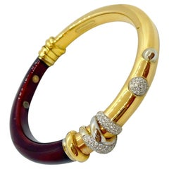La Nouvelle Bague 18KT Rose Gold, Burgundy Enamel and .59 Carat Diamond Bracelet