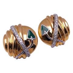 La Nouvelle Bague 18 Karat Gold Earrings with Diamond .32 Carat and Green Enamel