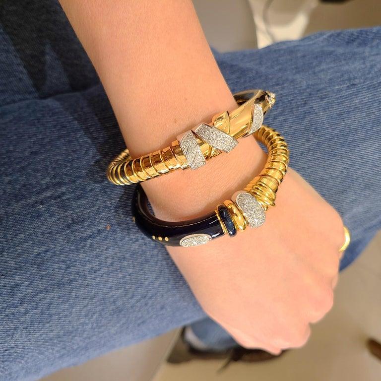 La Nouvelle Bague 18KT Rose Gold Tubogas, Blue Enamel & .91Ct. Diamond Bracelet For Sale 5