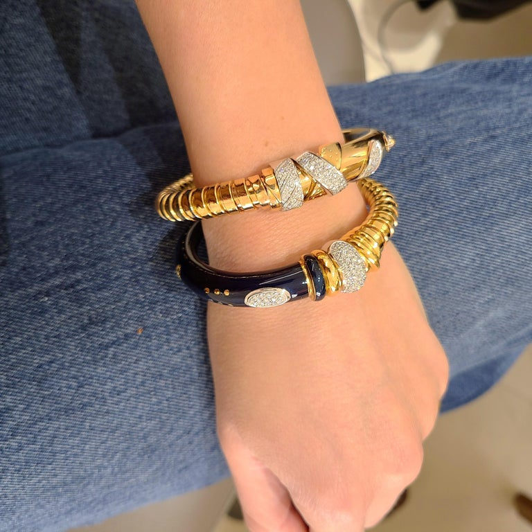 La Nouvelle Bague 18KT Rose Gold Tubogas, Blue Enamel & .91Ct. Diamond Bracelet For Sale 6