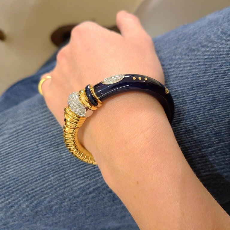 Modern La Nouvelle Bague 18KT Rose Gold Tubogas, Blue Enamel & .91Ct. Diamond Bracelet For Sale
