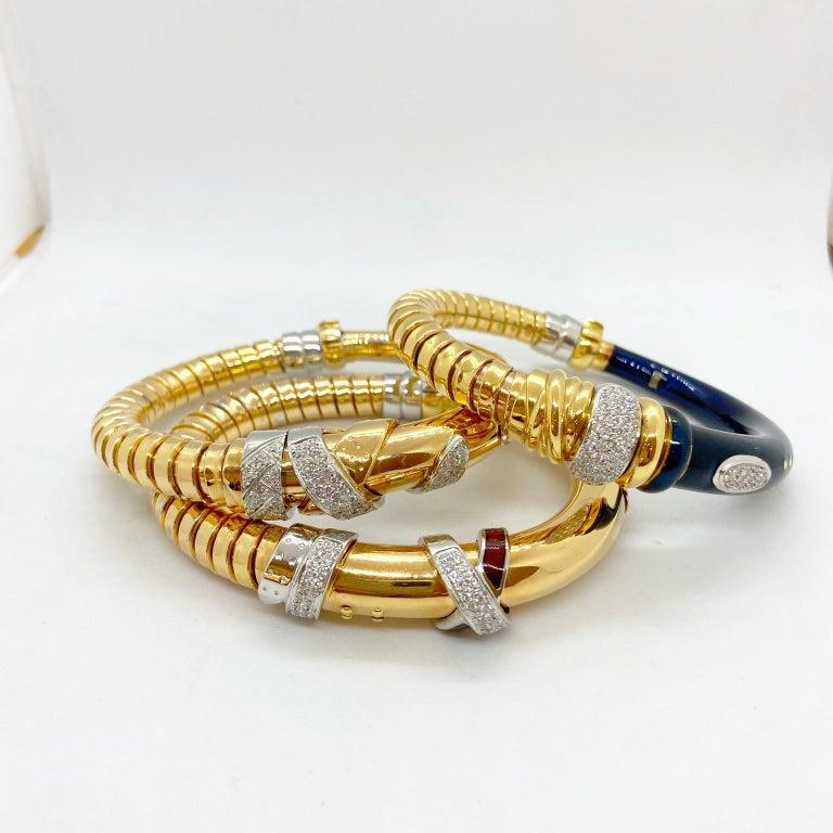 Round Cut La Nouvelle Bague 18KT Rose Gold Tubogas, Blue Enamel & .91Ct. Diamond Bracelet For Sale