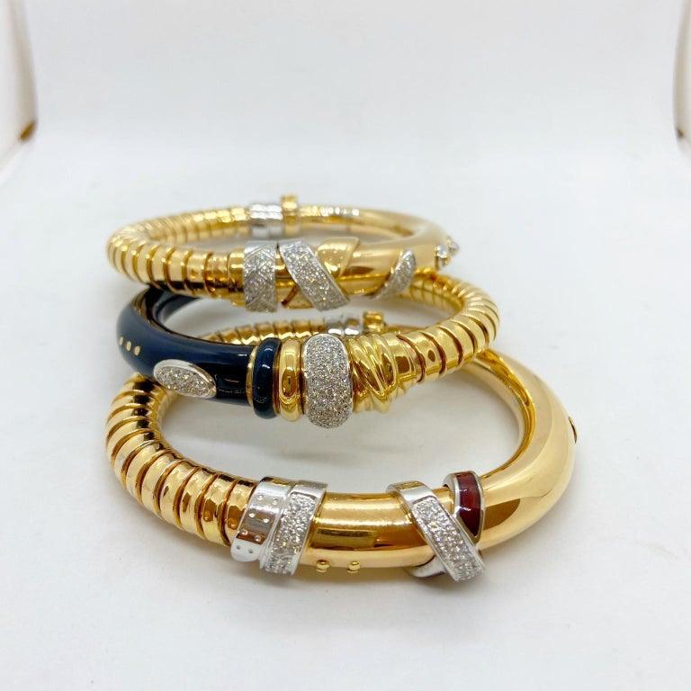 Women's or Men's La Nouvelle Bague 18KT Rose Gold Tubogas, Blue Enamel & .91Ct. Diamond Bracelet For Sale