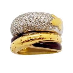 La Nouvelle Bague 18KT Rose & White Gold, 1.76Ct Diamond & Enamel Crossover Ring