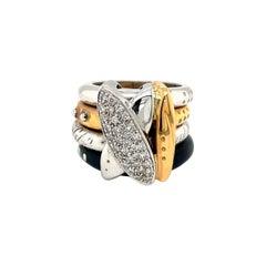 La Nouvelle Bague 18KT Rose/White Gold Diamond .37Ct. & Blue Enamel Ring