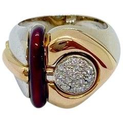 La Nouvelle Bague 18KT Rose & White Gold, Diamonds & Burgundy Enamel Heart Ring