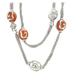 La Nouvelle Bague 18KT White Gold, Diamond and Peach Enamel Long Necklace