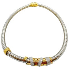 La Nouvelle Bague 18KT White & Rose Gold Tubogas Necklace with .74Ct. Diamonds