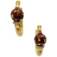 La Nouvelle Bague 18KT Yellow Gold Hoop Earrings with Burgundy Enamel & Diamonds