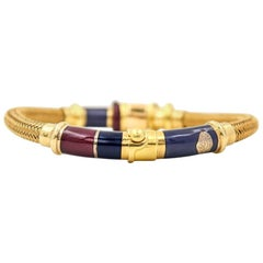 La Nouvelle Bague Bracelet in 18 Karat Gold and Sterling Silver with Enamel