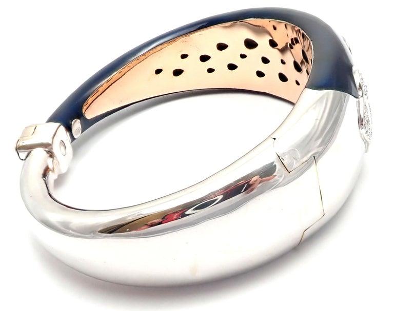 Women's or Men's La Nouvelle Bague Diamond Enamel White Gold Bangle Bracelet For Sale