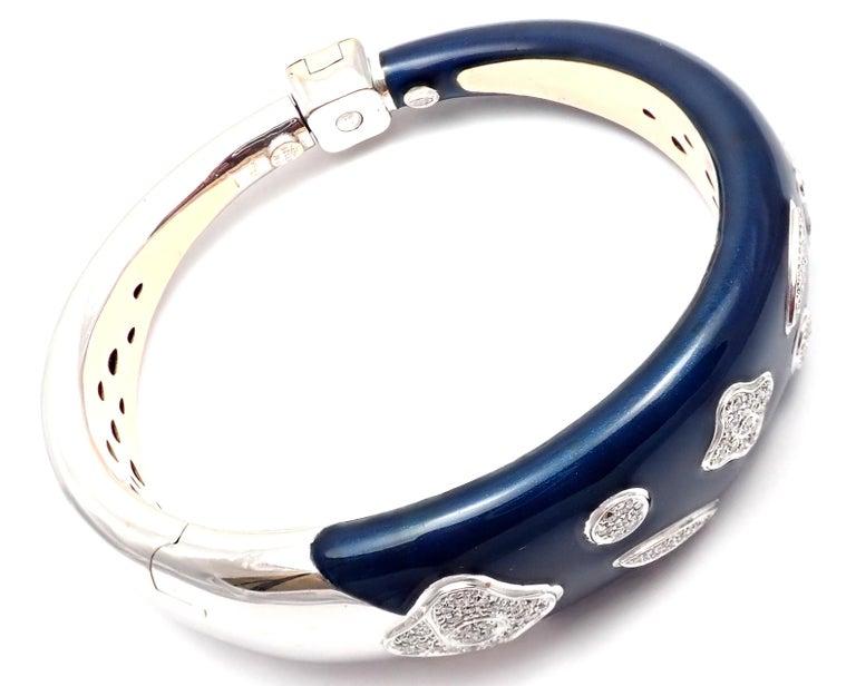 La Nouvelle Bague Diamond Enamel White Gold Bangle Bracelet For Sale 1
