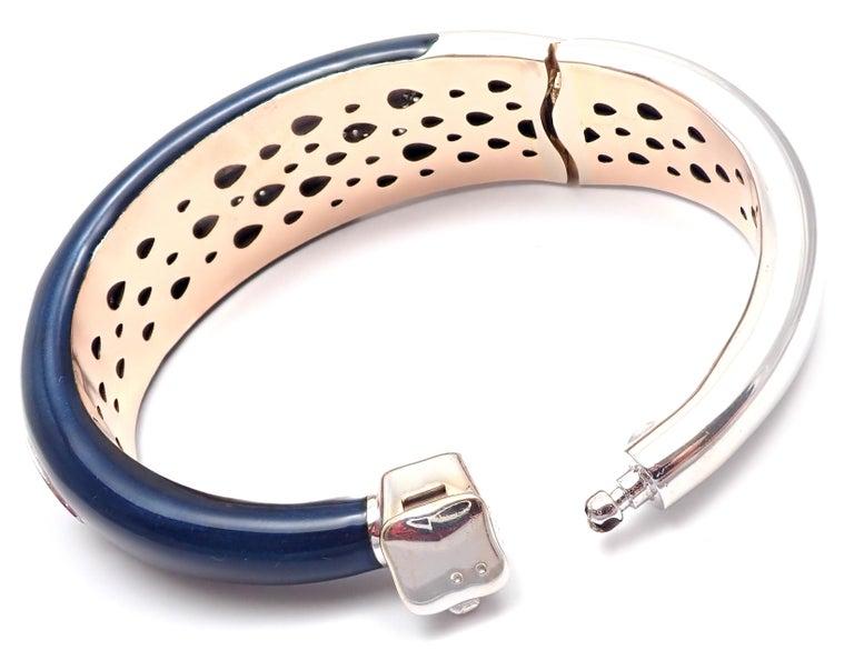 La Nouvelle Bague Diamond Enamel White Gold Bangle Bracelet For Sale 2