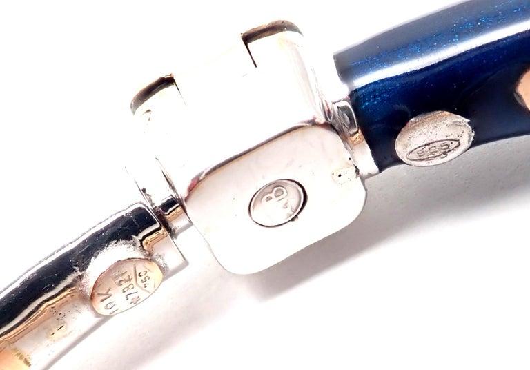 La Nouvelle Bague Diamond Enamel White Gold Bangle Bracelet For Sale 3