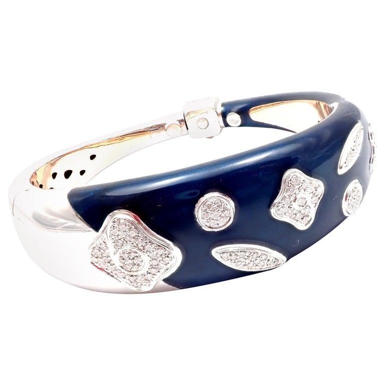 La Nouvelle Bague Diamond Enamel White Gold Bangle Bracelet For Sale
