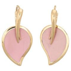 La Nouvelle Bague Earrings Pink Enamel Leaf Estate 18 Karat Gold Fine Jewelry