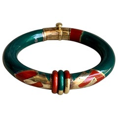 La Nouvelle Bague Enamel and 18 Karat Yellow Gold and Sterling Silver Bangle