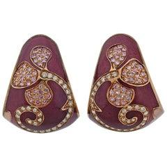 La Nouvelle Bague Gold Diamond Pink Sapphire Enamel Half Hoop Earrings