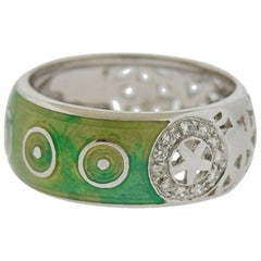 La Nouvelle Bague Gold Green Enamel Diamond Band Ring