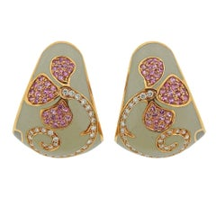 La Nouvelle Bague Rose Gold Diamond Pink Sapphire Earrings