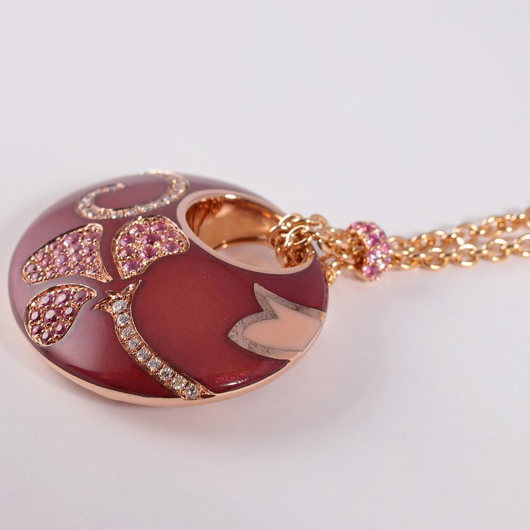 La Nouvelle Bague Rose Gold Pink Sapphire Diamond Enamel Necklace In Good Condition For Sale In Dallas, TX
