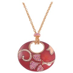 La Nouvelle Bague Rose Gold Pink Sapphire Diamond Enamel Necklace