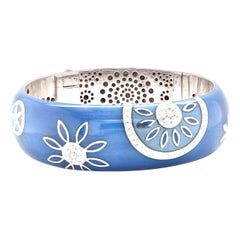 La Nouvelle Bague Sterling Silver Blue Enamel Diamond Bangle Bracelet