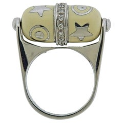 La Nouvelle Bague White Gold Diamond Enamel Barrel Ring
