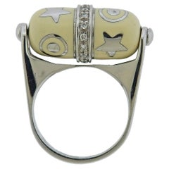 La Nouvelle Baguès White Gold Diamond Enamel Barrel Ring