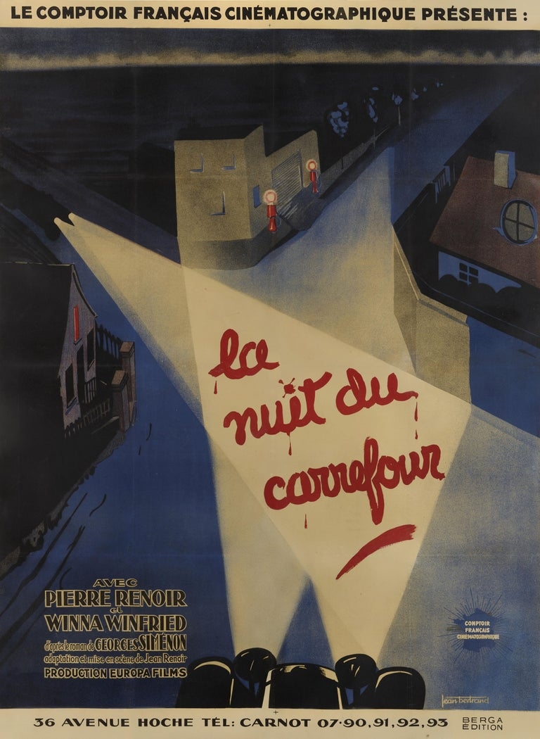 Original French film poster for the La Nuit du Carrefour / Night at the Crossroads, 1932. the bloody letters dominating this astounding French poster, together with the ruthless sweep of search lights, prepare the viewer for a story of murder,