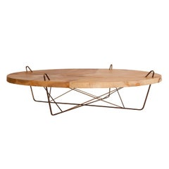 La Pell Translucent Parchment Leather and Hand Patinated Brass Low Coffee Table
