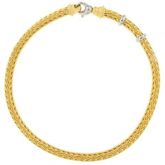 La Pepita 18 KYG Matte Handwoven Wheat Weave Necklace with Platinum Accents