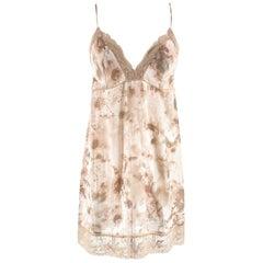 La Perla Floral Print Nude Night Dress & Robe - Size US 6-8