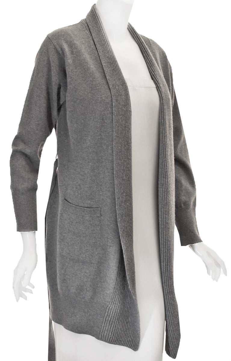 La Perla, the famous italian lingerie house, also designs casual easy to wear clothing.  This sweater jacket is composed of soft lightweight Merino wool, perfect for the transitional season that is rapidly approaching.  This sweater in light grey is