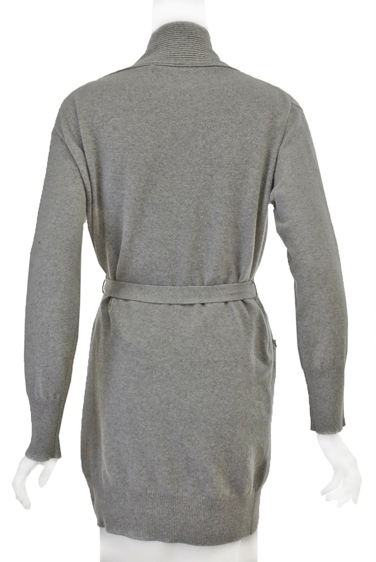La Perla Grey Long Cardigan Sweater W/ Sash  In Excellent Condition For Sale In Palm Beach, FL