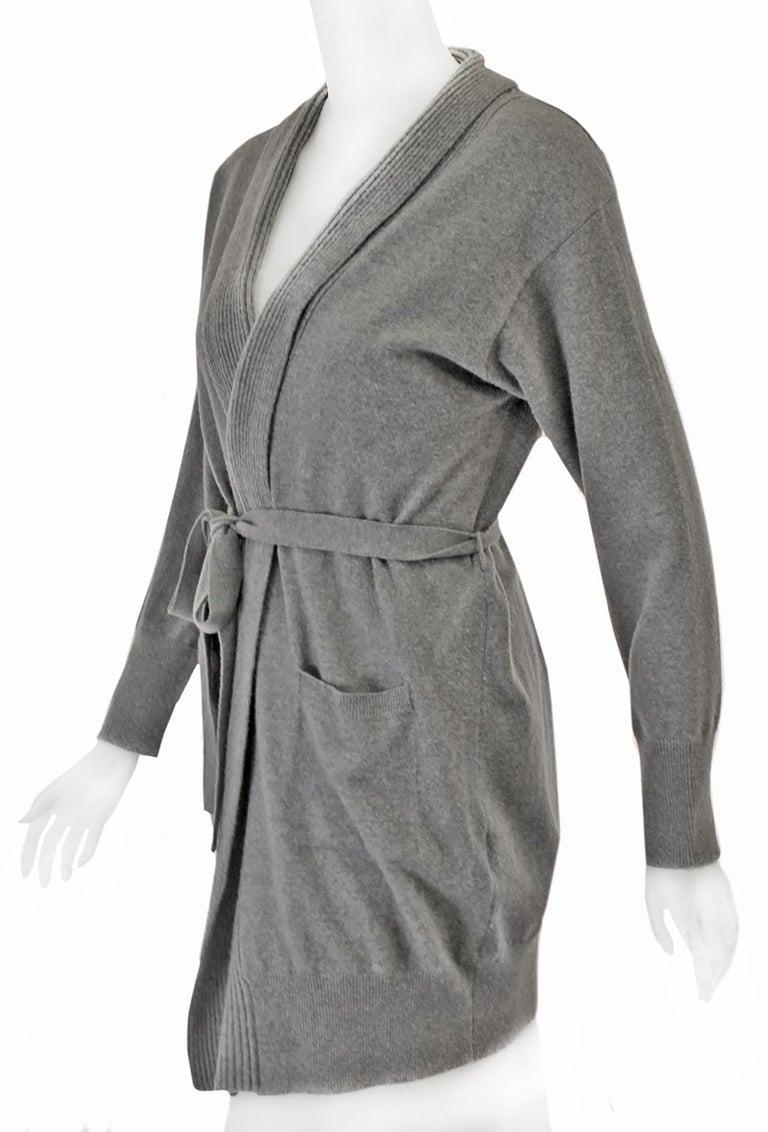 Women's La Perla Grey Long Cardigan Sweater W/ Sash  For Sale